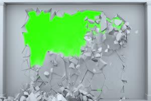 白色墙壁坍塌 碎裂 绿屏素材