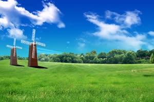 蓝天草原风车 高清背景素材MP4 在线下载