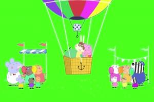 小猪佩奇 热气球 绿屏抠像 巧影AE素材 特效牛