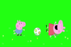 小猪佩奇 踢足球3 绿屏抠像 巧影AE素材 特效牛