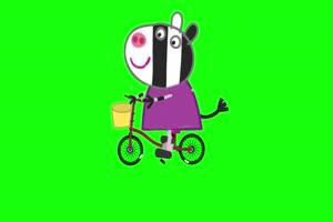 小猪佩奇 小斑马骑车 绿屏抠像素材 公众号特效