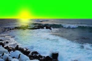 海洋 沙滩 自然绿屏抠像素