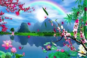 山水彩虹 高清背景素材MP4 在线下载