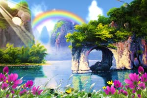 人间仙境山水背景 背景素