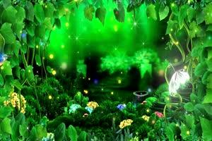 绿色大自然 梦幻仙境有音乐 高清背景素材MP4 在