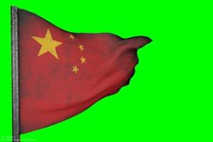 国旗 风吹雨打 国庆节 绿