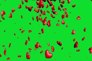 爱心下坠 下落 飘落爱心 绿屏抠像蓝幕特效素材