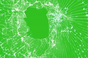 碎屏素材 玻璃破碎  绿屏