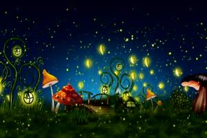 星空夜景草地蘑菇萤火虫 宇宙星空 背景特效素材