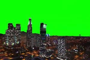城市夜景 自然绿屏抠像素
