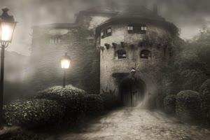 恐怖古堡 万圣节 背景素材