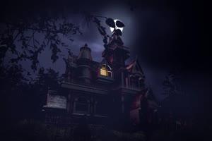古堡月亮灯光 万圣节 背景