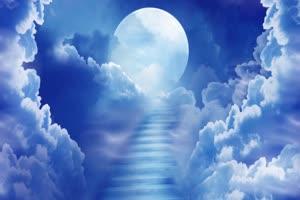 云中的月亮蓝色 背景素材 中秋节素材