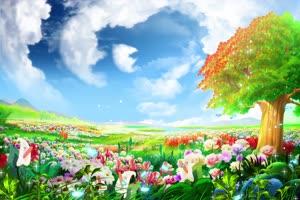 大树下超唯美风景 高清背景素材MP4 在线下载