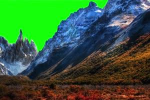 雪山2 自然绿屏抠像素材