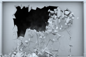 白色墙壁坍塌 碎裂