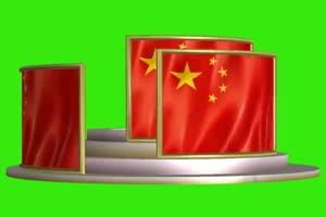 3d 国旗 国庆节 绿屏抠像后