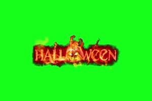 文字在火 万圣节 恐怖 鬼魂 绿屏素材特效牛