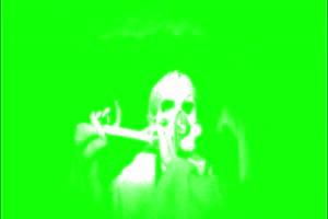 恐怖 人头  鬼 吹笛子 绿屏绿幕 抠像素材